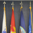 Various veteran flags are displayed in the Veterans Center, honoring those who served in the United States military.