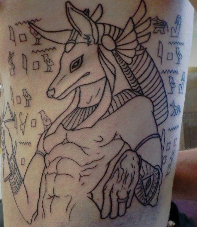 Anubis+line+work+on+General+Reporter+Austin+Fitzgerald++by+tattoo+artist+David+Fritsch.
