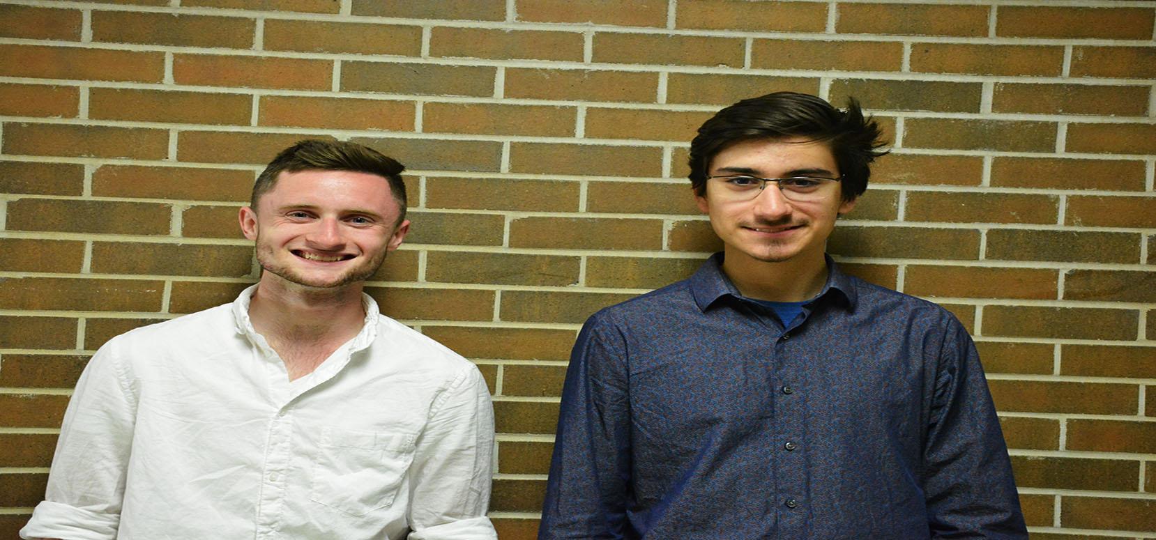 From left to right: Freshmen  engineering major and new study body president Lucas Frey and his running mate freshmen engineering major and new vice president Skylar Lopez-Kohler.