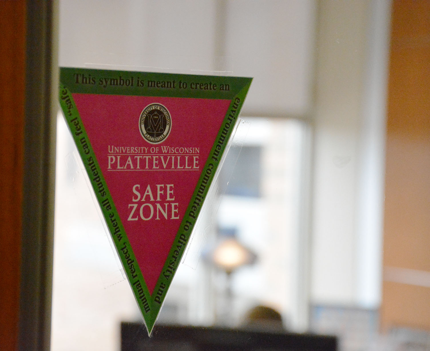 Safe zone triangles can be found across the UW-Platteville's campus, including the Markee Pioneer Student Center.