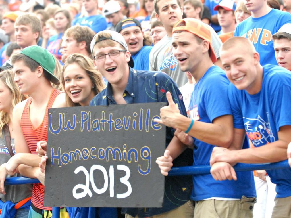 Students+filled+the+stands+at+the+Homecoming+Game+Saturday+afternoon.+Pioneers+won+49-27+against+the+University+of+Wisconsin-+Eau+Claire.