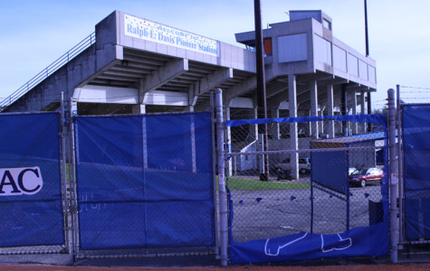 Pioneer Pete was cut from a fence windscreen at Pioneer Stadium some time from Oct. 15-16. About 90 percent of the logo was removed, leaving the feet of Pete. The replacement cover is expected to arrive before Friday.