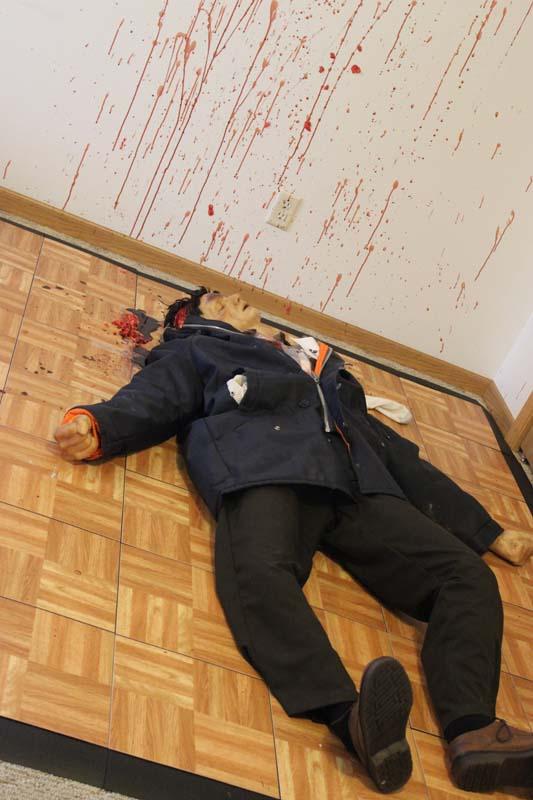 A mannequin represents Robert Disch's murdered body.