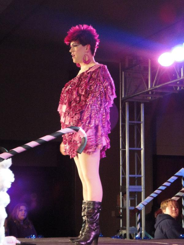 Drag queens, featured above, performed at the annual Rainbow Rave Nov. 16.  Queens and kings danced and lipsynced to their choice of song.  Amateur and experienced performers took the stage to promote positive attitudes towards the LGBT community.