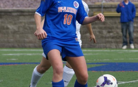 Pioneer women's soccer senior Sarah Eck (10) scored two goals on Senior Day against University of Wisconsin-Stout Nov. 2. It was Eck's second match in a row with two goals. She was named WIAC Offensive Player of the Week for the second consecutive week and third time this year.