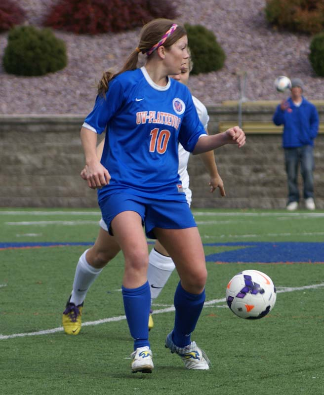 Pioneer womens soccer senior Sarah Eck (10) scored two goals on Senior Day against University of Wisconsin-Stout Nov. 2. It was Ecks second match in a row with two goals. She was named WIAC Offensive Player of the Week for the second consecutive week and third time this year.