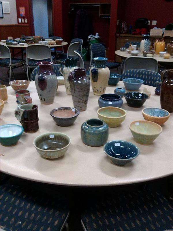 Pottery made by Clay Club members was for sale in the Platteville Rooms of the Markee Pioneer Student Center.