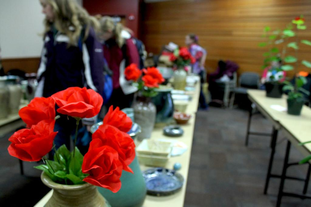 Horticulture Club combined efforts with Clay Club to hold their annual Valentine's Day Plant Sale.  Clay Club made some of the pots for the plants and Horticulture Club grew all the plants in the university's greenhouse for the event.