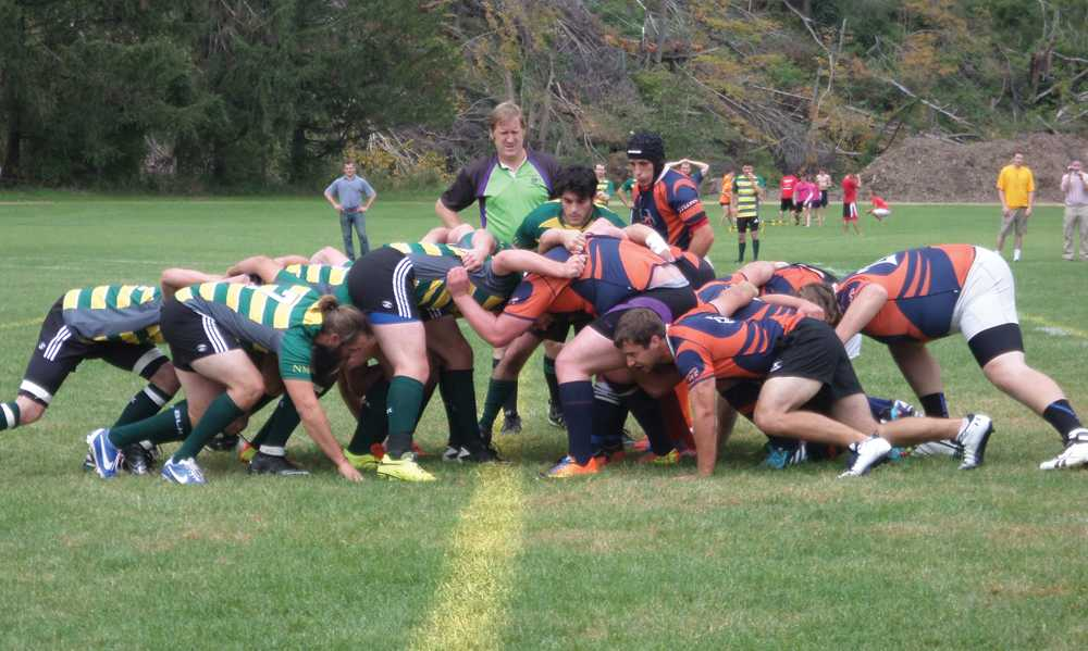 UW-Platteville Men's Rugby team battles in scrum after infringement. The Pioneers allowed the Wildcats only one try.