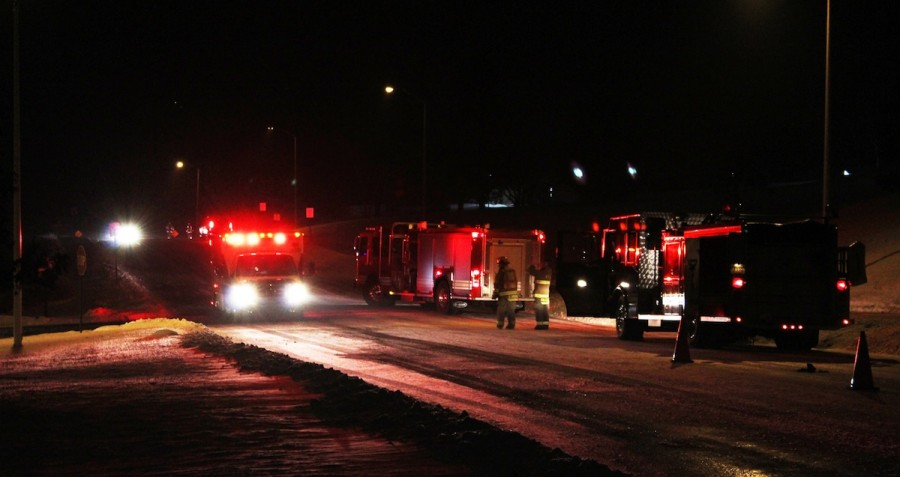 Emergency vehicles were visible from university parking lot 21.