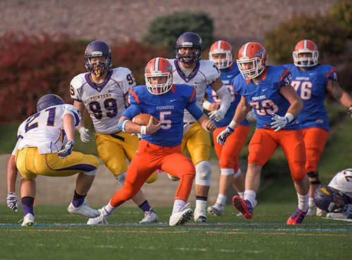 In his first collegiate start, sophomore quarterback Jack Eddy led the Pioneers to a 30-27 homecoming victory over the University of Wisconsin-Stevens Point.