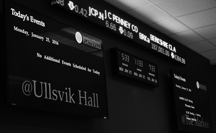 Stock ticker, clock, and flat screens light up the lab in Russell Hall.