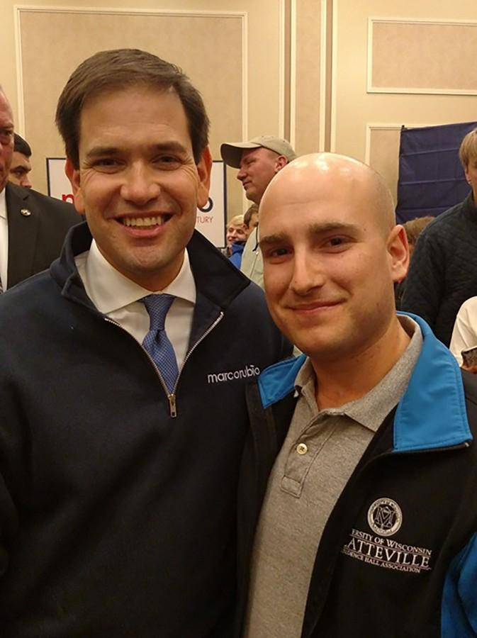 Caleb Goodnes, senior political science major, takes a selfie with presidential candidate Marco Rubio.