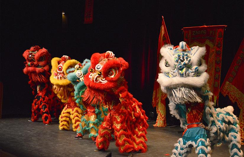 Opening Lion Dance is performed by the Zhong Yi King Fu Association Lion Dance Troupe. The dance was one of ten performances at the Chinese New Year Spring Festival.