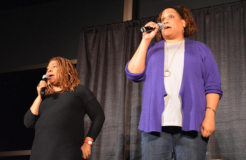 Frances Callier and Angela V. Shelton A.K.A. Frangela perfroming  their comedy routine for UW-Platteville students.