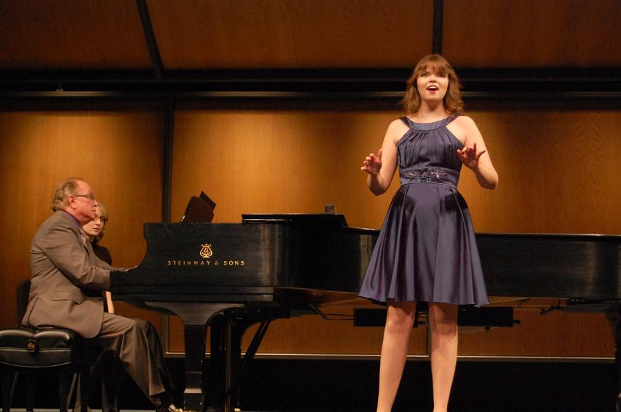 "Savannah Bettin, soprano, junior vocal education major sings ""I can't be talkin' of love"" by John Duke with Rob Shepherd at piano."