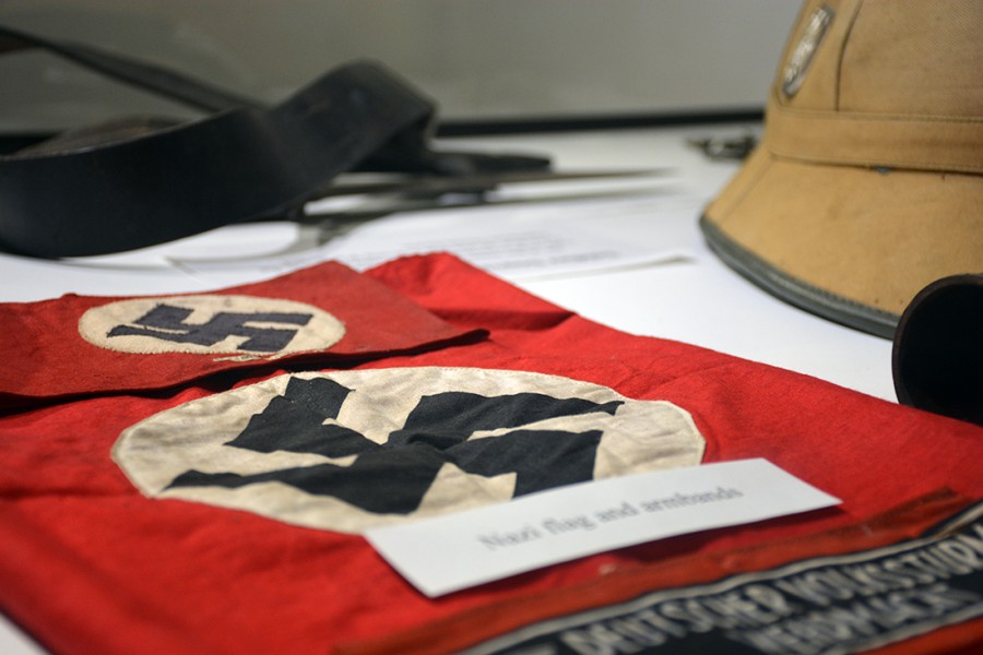 Nazi flag and armbands are on display at the Nohr Gallery in Ullsvik Hall.