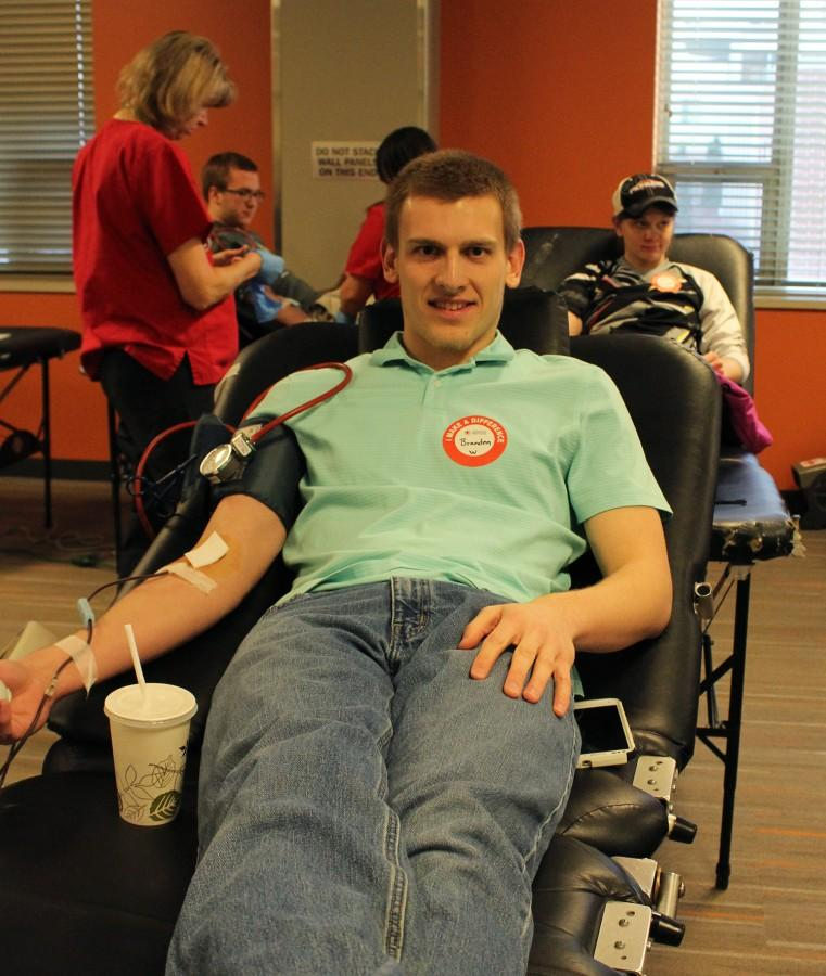 Brandon Breitsprecher, junior civil engineering major, donated blood on Thursday, Feb. 25. According to redcrossblood.org donating one pint of blood can help save up to three lives.