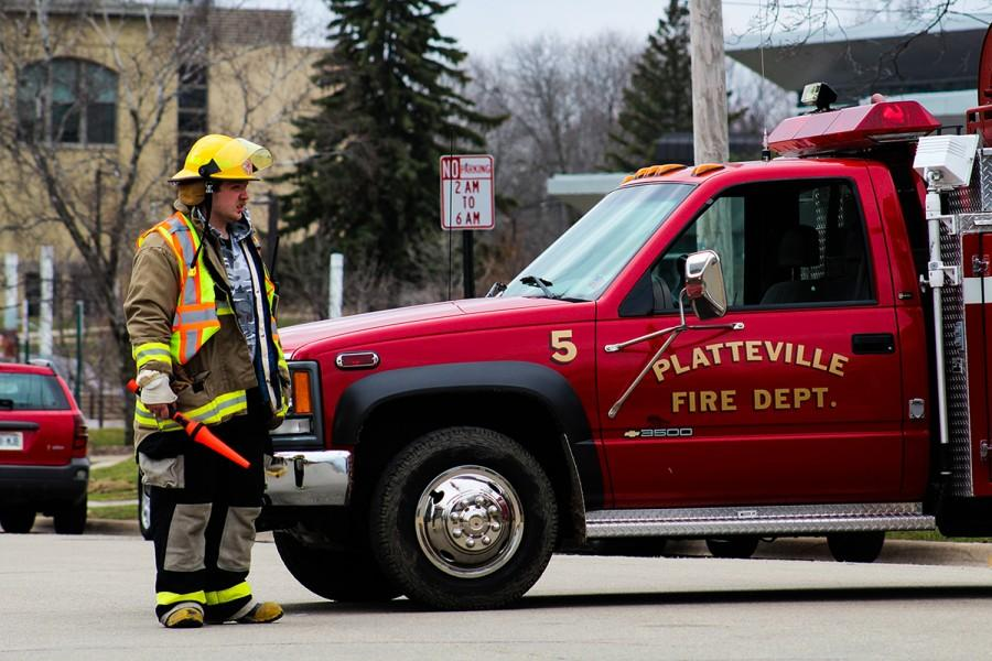 Platteville Fire Department directed traffic around Ullsvik Hall when several streets were blocked leading to campus.