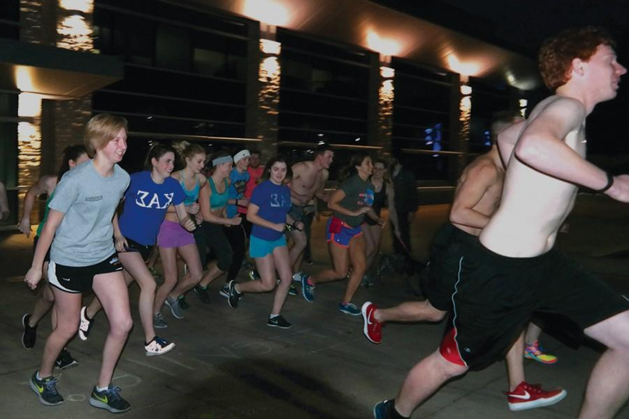 UW-Platteville students participated in the Nearly Naked Mile. All campus groups and organizations were encouraged to join by donating old clothes to charity.