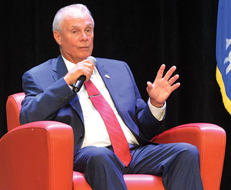 """Bo Ryan came to campus on April 19 and talked to students, staff, faculty, and alumni about the """"power of the hill."""""""