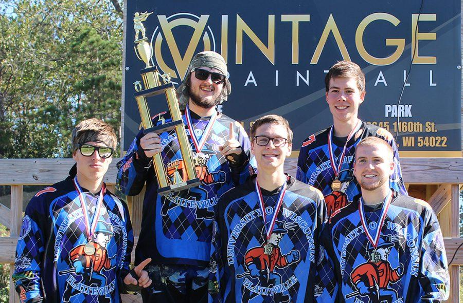 The UW-Platteville's Paintball Club competed in their first Midwest North Conference tournament of the year at Vintage Paintball Park in River Falls, WI. Five of the clubs 30 active members celebrate their win: junior Brett Muenster, senior Matt Jones, senior Eliot Weaver, senior Will Mann and senior JJ Dittman.