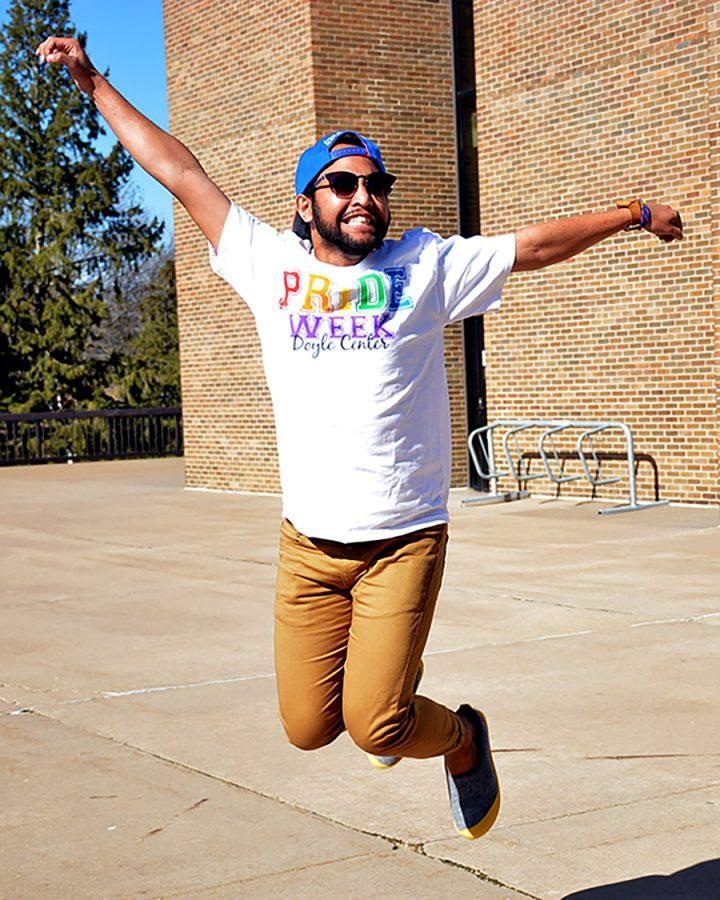 This Pioneer shows off his t-shirt, which was given to him by the Doyle Center to celebrate Pride Week.
