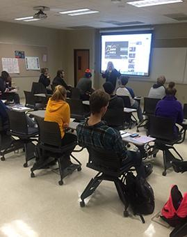 Mary Rose Williams teaches media studies students about theories of media and culture.