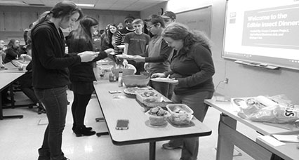 Students enjoy the variety of insect foods available at insect Thansgiving held by the Green Campus Project, Biology Club and Agricultural Business Club.
