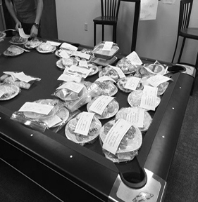 Plates of baked goods were offered to the winners at the Cake Walk.