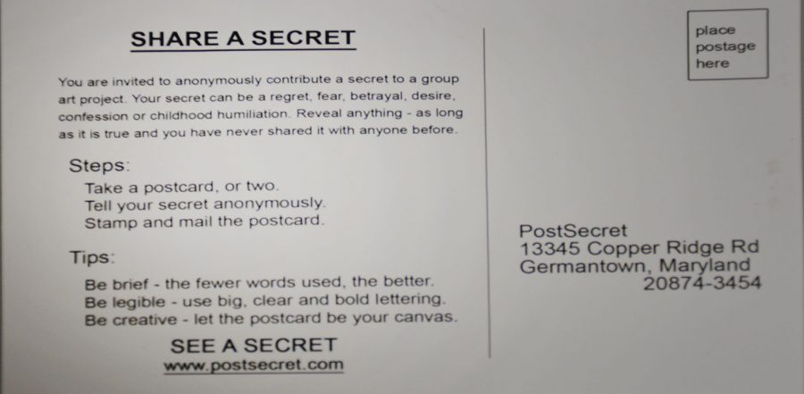 Students were encouraged to write their secrets on postcards placed around campus for PostSecret Live! event.