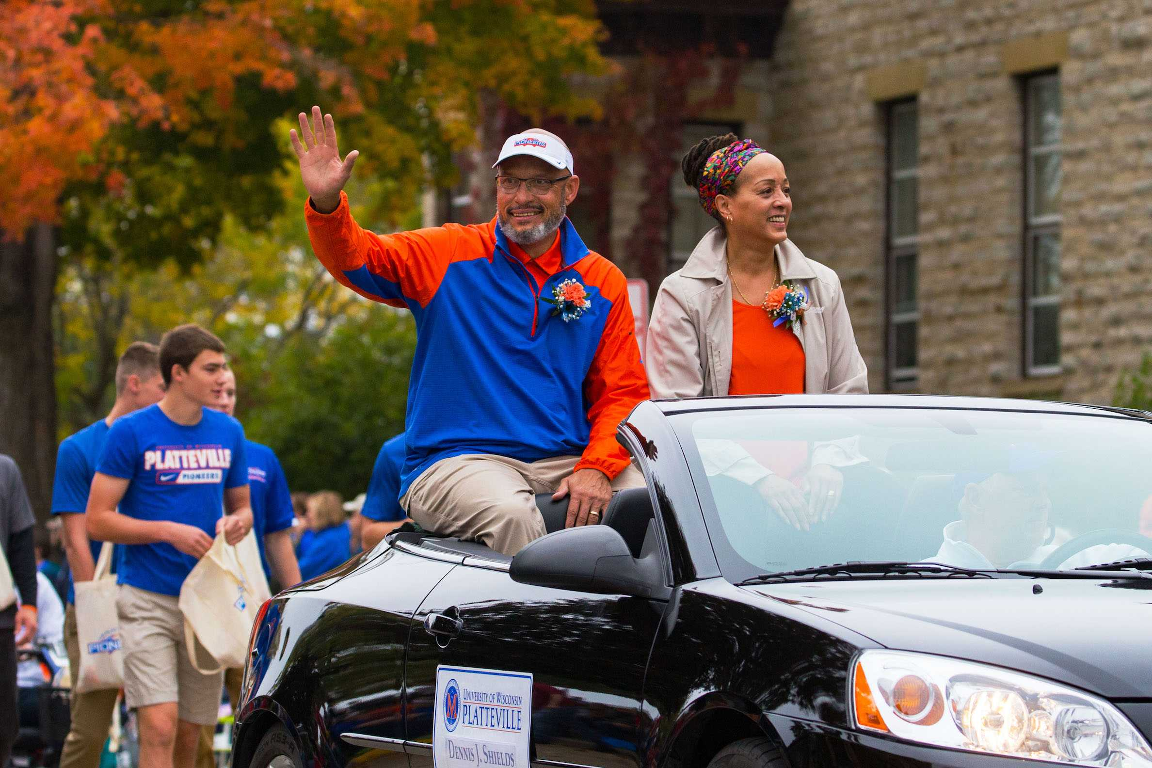Dennis Shields   continues to support UW-Platteville Pioneers as their chancellor.