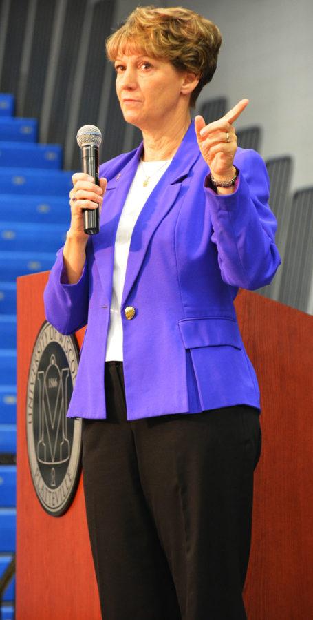 Retired astronaut for NASA Eileen Collins speaks.