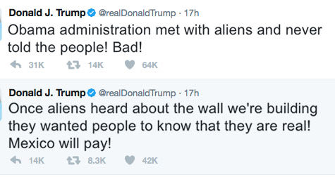 President confirms the existence of aliens