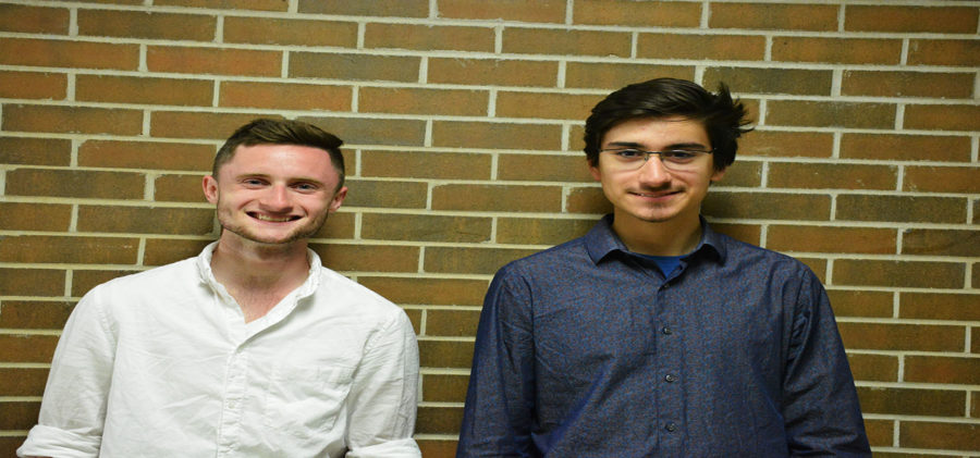 From left to right: Freshmen  engineering major and new study body president Lucas Frey and his running mate freshmen engineering major and new vice president Skylar Lopez-Kohler.
