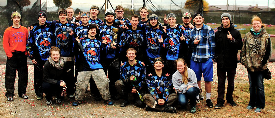 The UW-Platteville paintball club poses for a photo after winning the national championship.