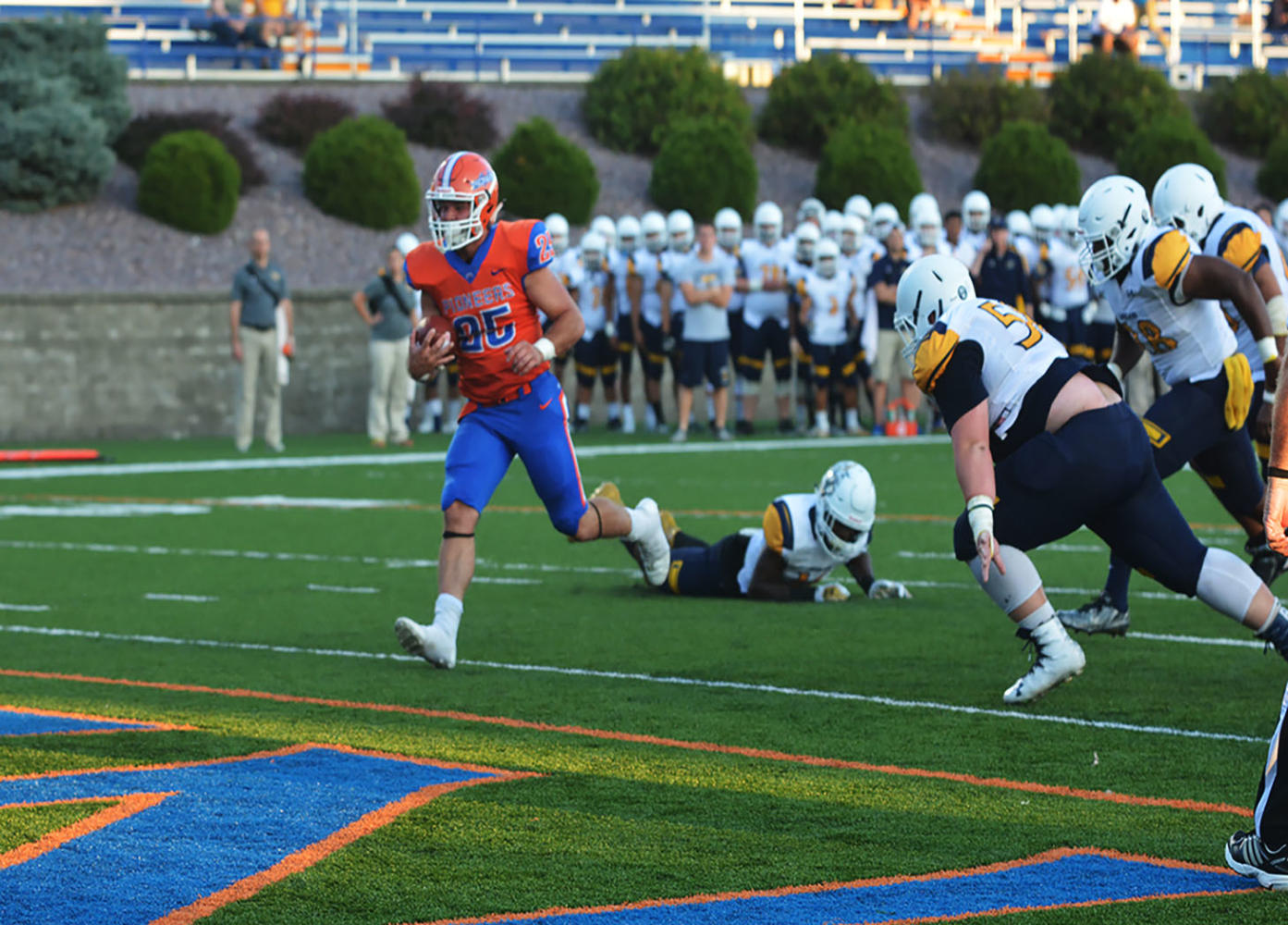 Junior running back Sean Studer rushes for a touch down against the Lakeland Univeristy Muskie defense.