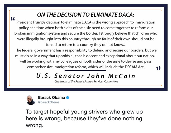 Former+president+Barack+Obama+and+senator+John+McCain+express+their+views+about+the+ending+of+DACA.