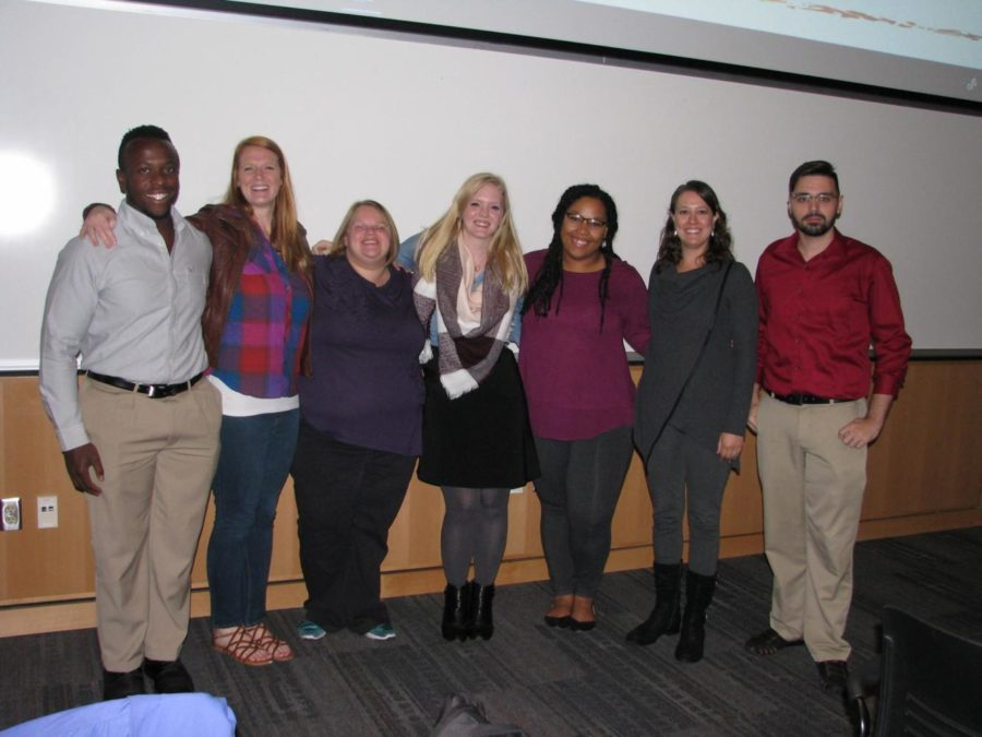 English almuni gather after giving short presentations to current English majors about their careers after UW-Platteville.