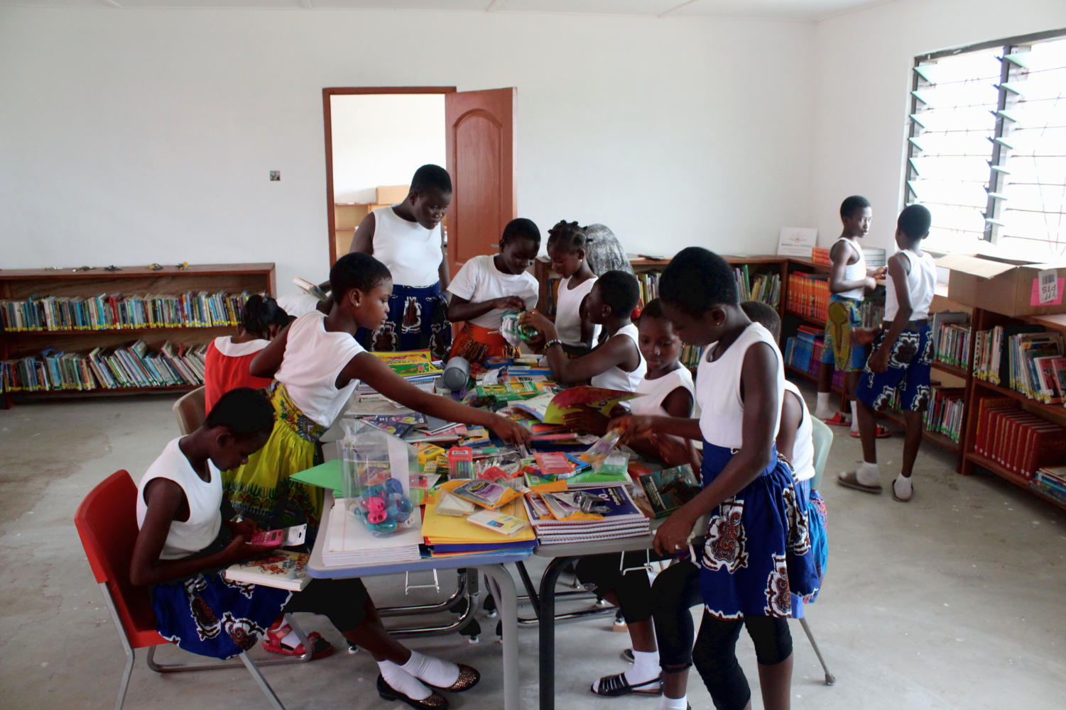 Ghanian children studying in the inaugural year of the NAVA Primary School that was funded by Engineers Without Borders.