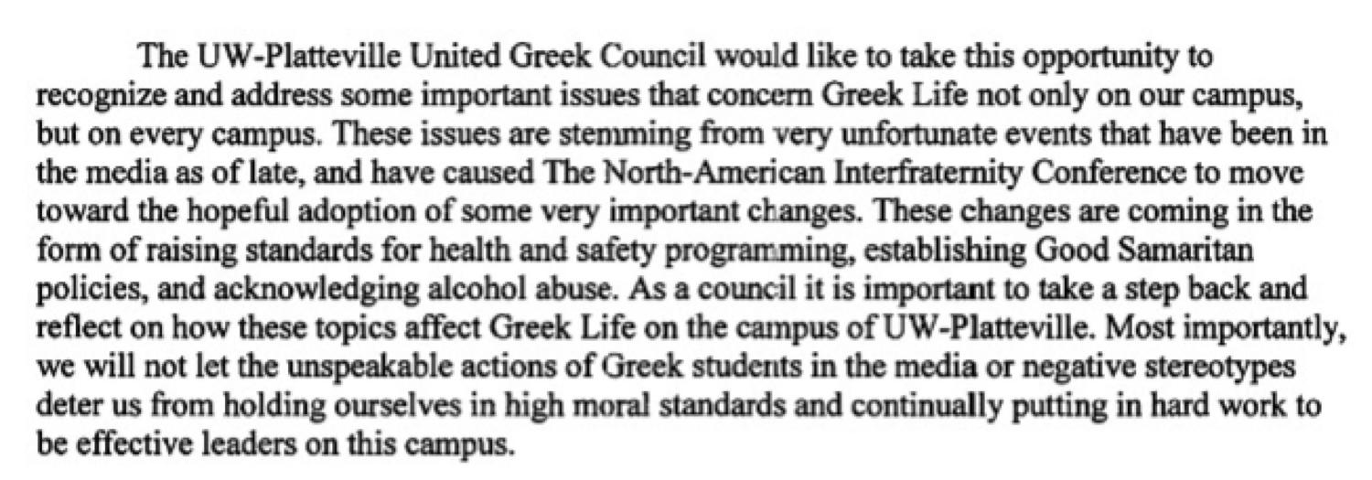 An excerpt of the letter that the United Greek Council sent to Chancellor Dennis Shields.