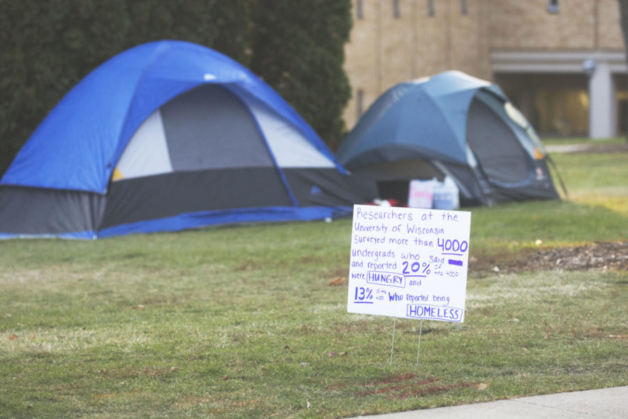 Students sleep outside overnight in the West Lawn in tents to promote Hunger and Homelessness Awareness Week.