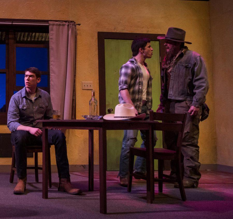 Jacob Thomas Photo  Pictured left to right: Jason Hackbarth as Martin,  Logan Eigenberger as Eddie, and Jon Hutson as The Old Man.