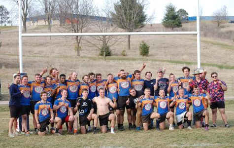 Kurt Kravchuk photo Pictured is the UW-Platteville men's rugby team after their win and long day at the 2019 Mudfest tournament.