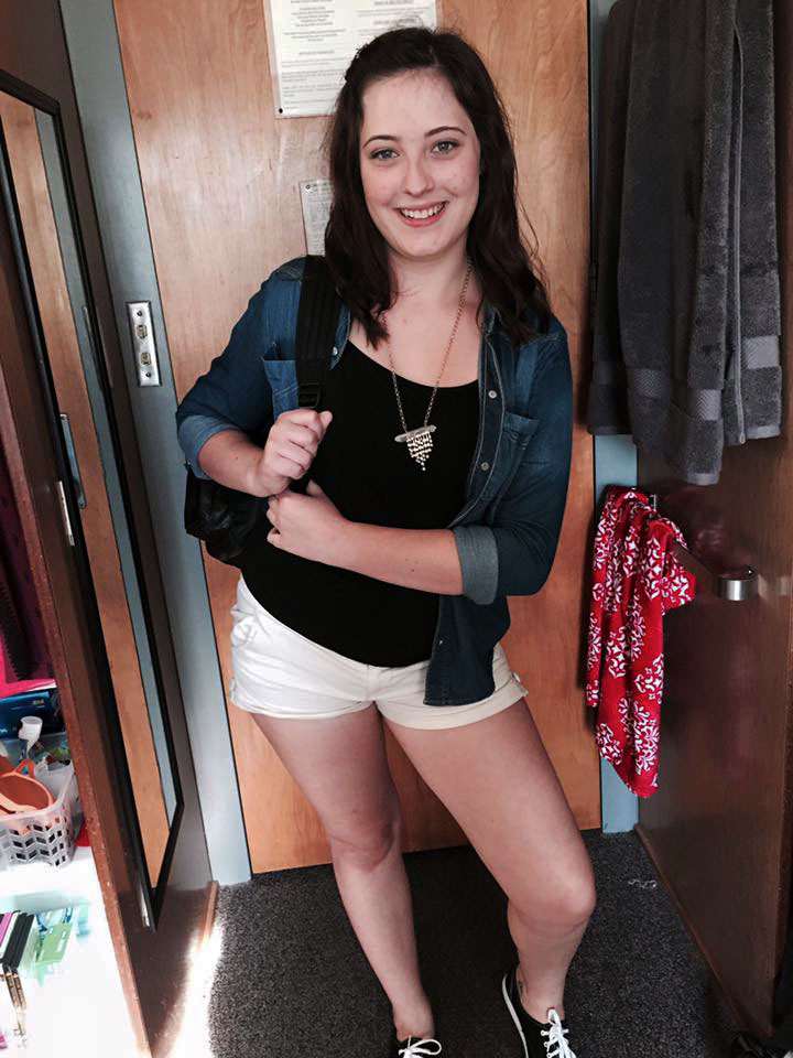 Morgan Hays on her first day of college, Fall of 2015